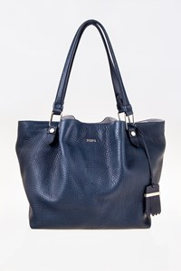 Tod's Flower Navy Blue Leather Tote Bag