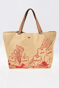 Anya Hindmarch Beige Canvas Tote Bag with Leather Straps