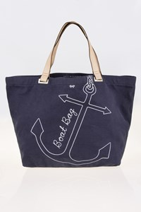 Anya Hindmarch Blue Canvas Tote Bag with Leather Straps