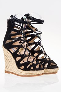 Steve Madden Theea Black Lace Up Espadrille Wedges / Size: 36 - Fit: 36.5
