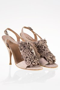 Alaia Taupe Fringe Suede Sandals / Size: 37 - Fit: 37.5