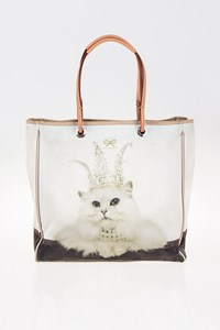 Anya Hindmarch Cat-Print Canvas Tote Bag