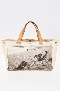 Anya Hindmarch Ecru-Grey Printed Canvas Tote Bag