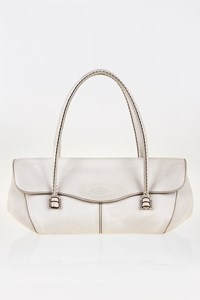Tod's Corniche Wave East West Off-White Small Tote Bag