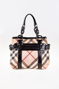 Burberry Nova Check Canvas Tote Bag with Black Patent Leather Details
