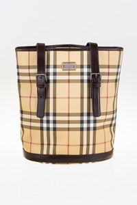 Burberry Nova Check Shoulder Bag with Brown Leather Details