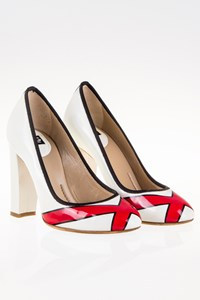 D&G White Printed Patent Leather Pumps / Size: 39 - Fit: 38.5