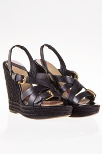 Burberry Black Leather Espadrille Sandals / Size: 36 - Fit: 36.5