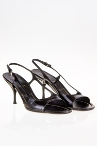 Prada Black Leather Sandals / Size: 38½ - Fit: True to size