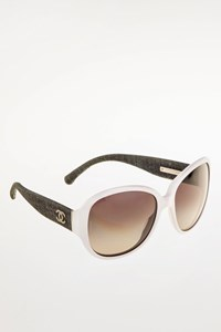 Chanel White Acetate Sunglasses With Denim Arms
