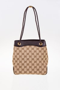 Gucci GG Canvas Mini Tote Bag with Braided Leather Handles