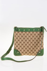 Gucci GG Canvas and Green Leather Studded Cross-Body Bag