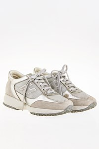 Hogan Interactive Light Grey Suede Sneakers with Silver Leather / Size: 35.5 - Fit: 36.5