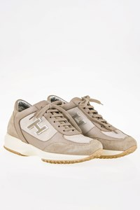 Hogan Interactive Taupe Suede Sneakers with Leather Details / Size: 35.5 - Fit: 36.5