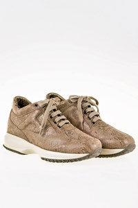 Hogan Interactive Taupe Lizard-Effect Sneakers / Size: 35.5 - Fit: 36.5