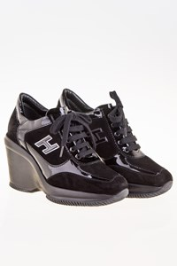 Hogan Black Suede and Patent Leather Wedge Sneakers / Size: 35.5 - Fit: 36.5