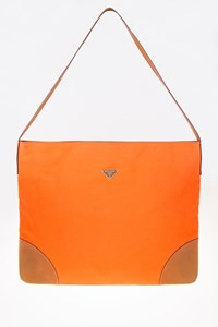 Prada Orange Canvas Leather Trim Tote Bag