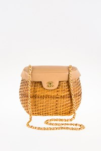 Chanel Wicker and Leather Basket Bag