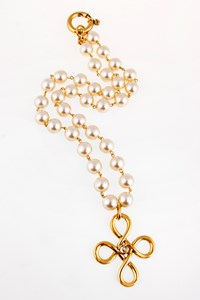 Chanel Vintage Cross Necklace with Imitation Pearls