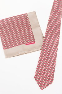 Hermès Multicoloured Silk Printed Tie and Pocket Square Set
