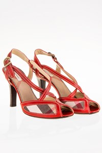 Burberry Red Leather Peep-Toe Slingbacks / Size: 39 - Fit: 38.5