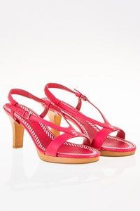 Jil Sander Fuchsia Leather Slingback Sandals / Size: 39 - Fit: 38.5