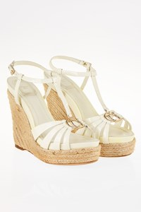 Dior CD2 White Patent Leather Espadrille Wedges / Size: 39 - Fit: True to size