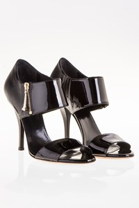 Gucci Black Patent Leather Sandals / Size: 39 - Fit: True to size