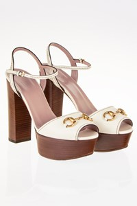 Gucci White Leather Horsebit Platform Sandals / Size: 39 - Fit: True to size