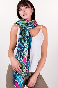 Christian Audigier Multicoloured Long Silk Printed Scarf