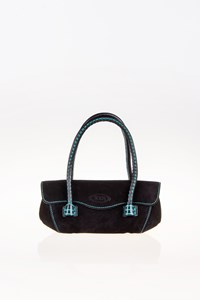 Tod's Wave Black Suede Leather Mini Tote Bag