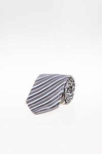 Boss Tricolor Textured Silk Striped Tie