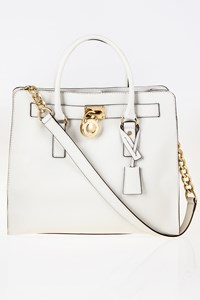 MICHAEL Michael Kors Hamilton White Saffiano Large Leather Tote Bag
