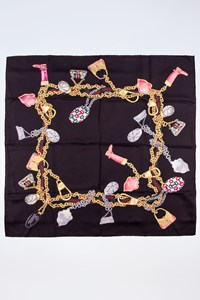 Gucci Black Printed Silk Scarf