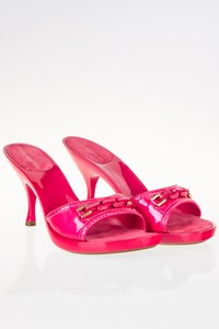 Louis Vuitton Fuchsia Patent Leather Peep-toe Mules / Size: 38 - Fit: True to size