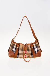 Burberry House Check Canvas and Tan Leather Shoulder Bag
