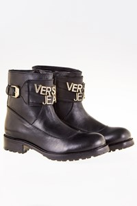 Versace Jeans Couture Black Leather Ankle Boots with Golden Logo / Size: 37 - Fit: 38