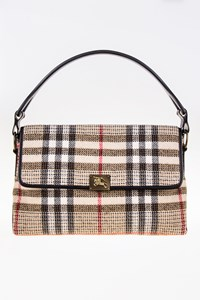 Burberry London Plaid Wool Shoulder Bag with Leather Details