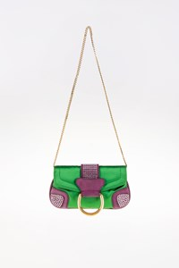 Dolce & Gabbana Green Satin and Purple Suede Clutch Bag