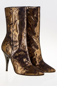 La Perla Bronze Leather and Black Lace Ankle Boots / Size: 38 - Fit: True to size