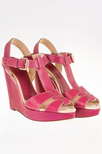 D&G Magenta Leather Platform Sandals / Size: 40 - Fit: True to size