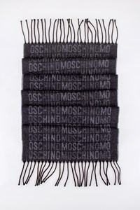 Moschino Grey Knitted Wool Scarf