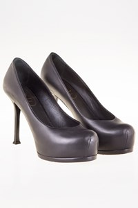 YSL Tribute Two Dark Grey Leather Pumps / Size: 37.5 - Fit: True to size