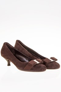 Ferragamo Carla Brown Suede Leather Pumps / Size: 7C (37) - Fit: 37.5