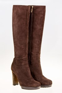 Gianvito Rossi Brown Suede Leather Boots with Wooden Heel / Size: 36 - Fit: True to size
