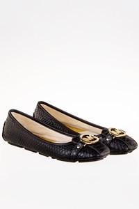 MICHAEL Michael Kors Fulton Moc Black Leather Ballet Flats / Size: 8M (38) - Fit: 38.5