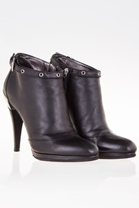 Sebastian Black Leather Ankle Boots with Silver Details / Size: 38 - Fit: 38.5