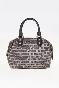 Love Moschino Grey/Black Canvas and Leather Tote Bag