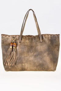 Gucci Taupe Leather Bamboo Tassle Tote Bag