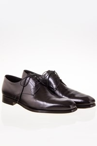 Prada Black Leather Lace-Up Derby Shoes / Size: 9½ (43.5) - Fit: 44